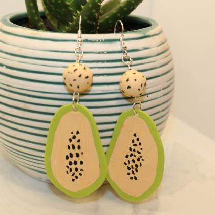 Papaya Polymer Clay Earrings | Hand..