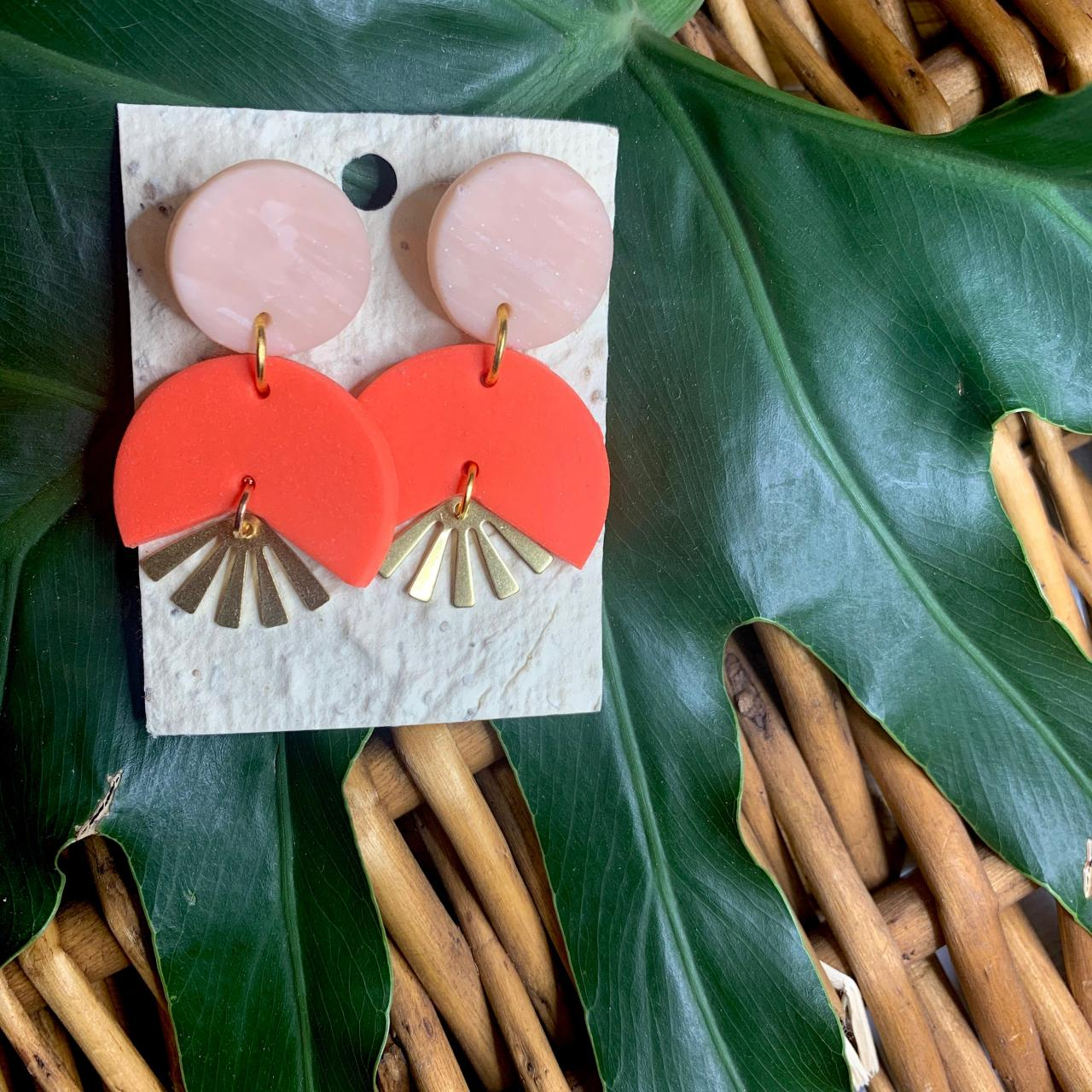 Mandarin Shine Polymer Clay Drop Earrings | Cute Contemporary Polymer Clay Statement Earrings