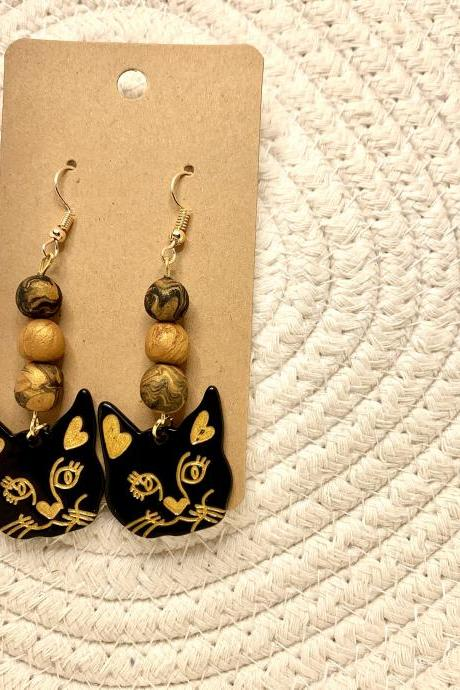 Cat in black Polymer Clay Dangle Earrings