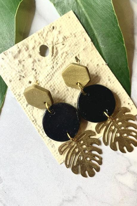 Black and gold monstera Polymer Clay Earrings | Unique Handmade Polymer Clay Statement Earrings