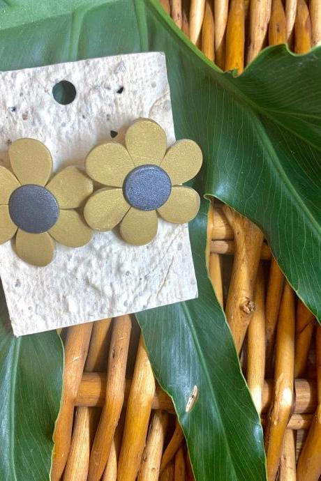 Flower Power Polymer Clay Earrings | Handmade Flower Polymer Clay Stud Earrings