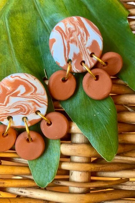 Marbled terra cotta Polymer Clay Earrings | Unique Handmade Polymer Clay Statement Earrings