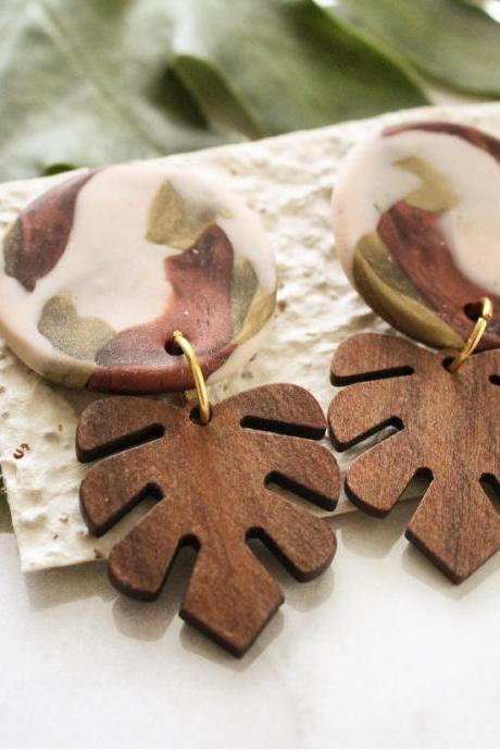 Monstera Earrings | Unique Handmade Ceramic Wood Statement Earrings