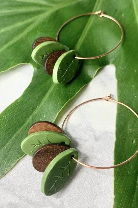 Leaf Lovin' Polymer Clay Dangle Earrings | Simple Cute Polymer Clay Earrings
