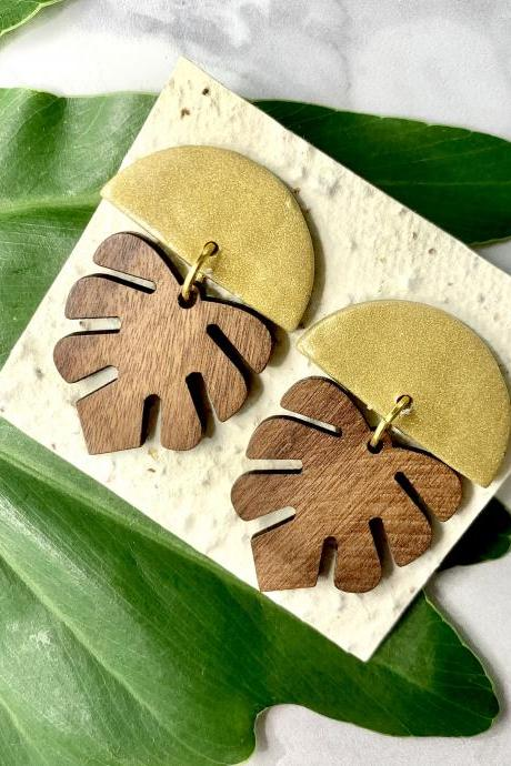 Gold Monstera Wood Ceramic Earrings | Unique Handmade Statement Earrings
