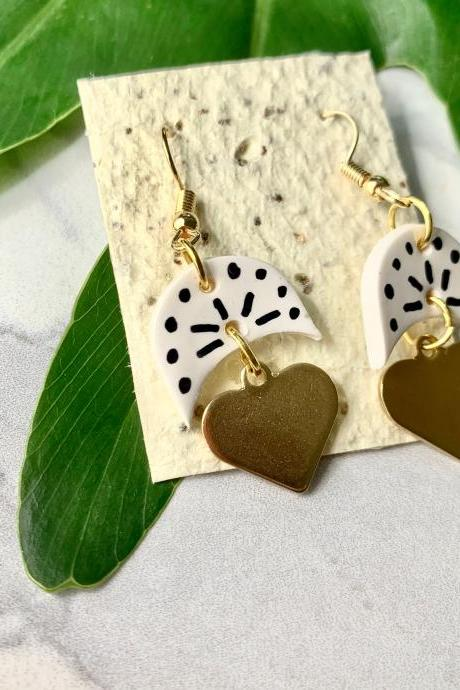 Small Pattern Earrings | Handmade Ceramic Dangle Earrings