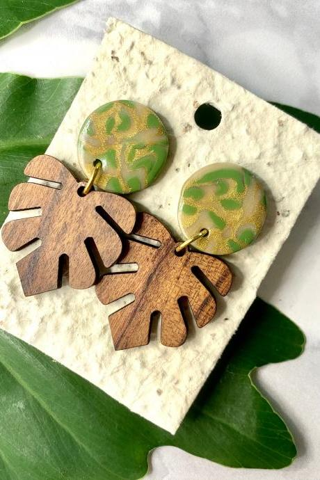 Camo Swirl Monstera Earring | Handmade Wood Ceramic Statement Earrings