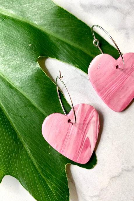 Heart Hoops Polymer Clay Earrings | Polymer Clay Statement Earrings