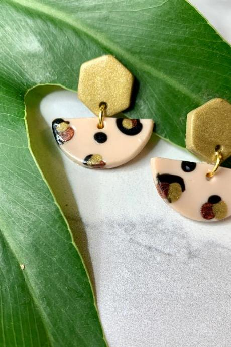 Leopard Shapes Polymer Clay Drop Earrings | Cute Handmade Polymer Clay Statement Earrings