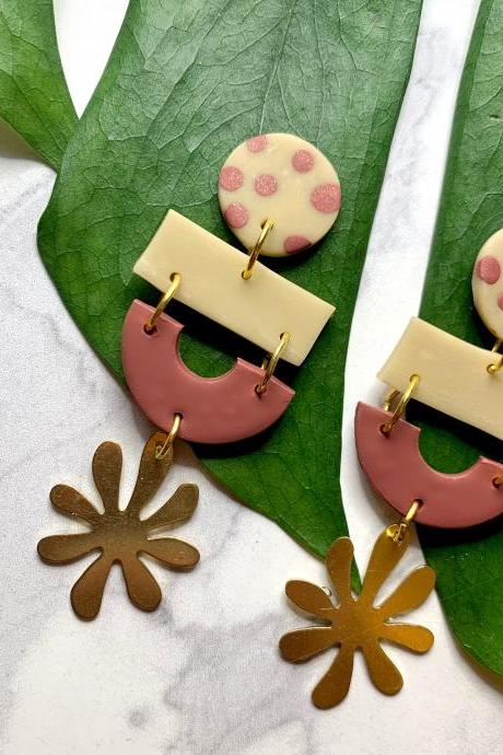 Abstract Floral Polymer Clay Earrings | Geometric Polymer Clay Statement Earrings
