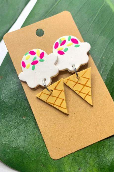 Ice Cream Dreams Earrings | Cute Handmade Polymer Clay Drop Earrings