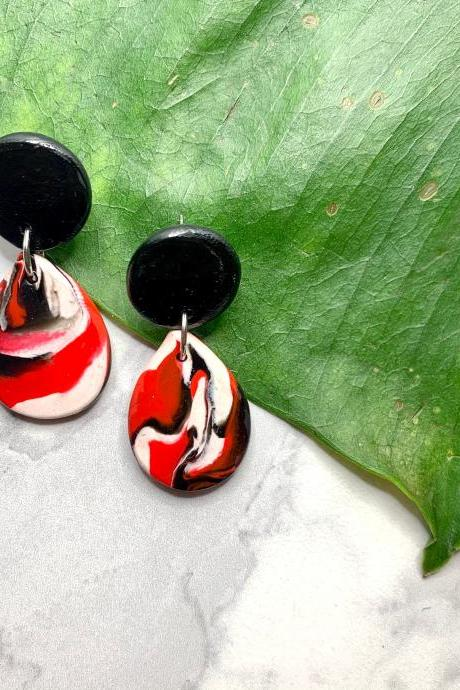 Red and Black Earrings | Unique Modern Polymer Clay Drop Earrings