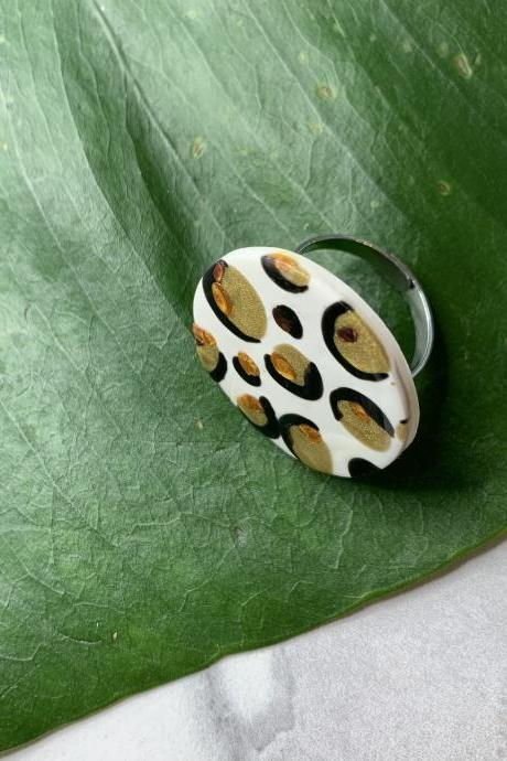 Leopard Love Ring | Handmade Polymer Clay Ring