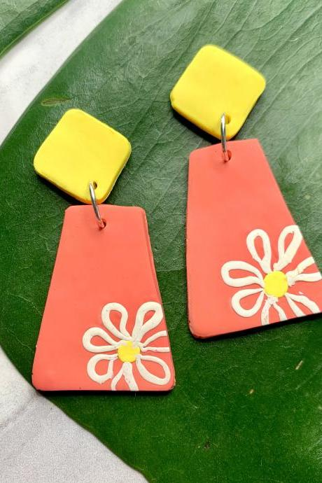 Summer Shasta Polymer Clay Earrings | Cute Handmade Polymer Clay Statement Earrings