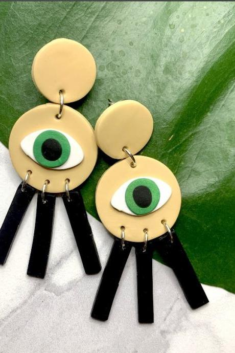 Eyes On Me Earrings | Cute Unique Polymer Clay Statement Earrings