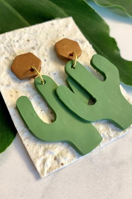 Cactus Cutie Polymer Clay Earrings | Unique Polymer Clay Statement Earrings