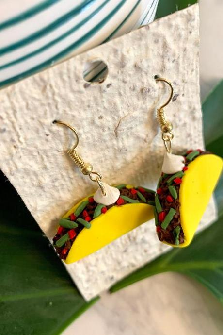 Taco Tuesday Polymer Clay Earrings | Cute Handmade Polymer Clay Dangle Earrings