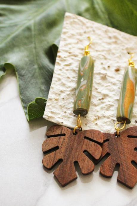 Hanging monstera polymer clay wood earrings