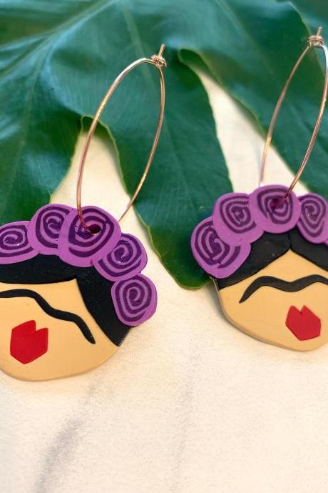 Frida Kahlo Earrings | Cute Handmade Polymer Clay Earrings