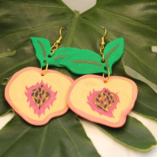 Peach Earrings | Cute Polymer Clay Statement Earrings