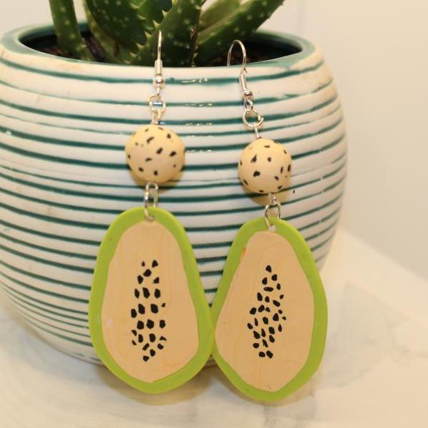 Papaya Polymer Clay Earrings | Handmade Minimalist Dangle Earrings
